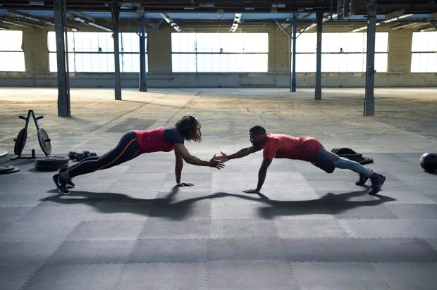 It's all about accountability, as physical Nike+ Training Club classes has you motivating and spotting someone through their fitness journey and vice versa, like Nike endorsers Serena Williams and Kevin Hart. Photo from www.nike.com.