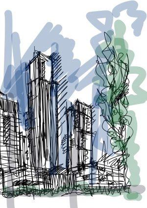 Songdo's international business district. Sketch courtesy of Pomeroy Studio.