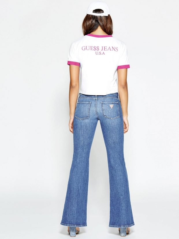 Low-rise bell-bottom jeans, P8,998. Image from GUESS Originals.