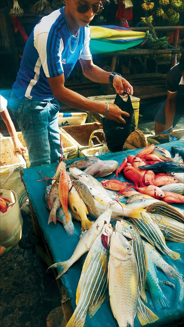 A variety of fish on sale at the wet market