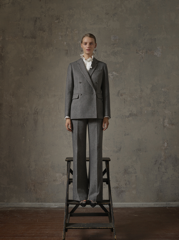 Blazer, Php7,990; Trousers, Php5,490; Blouse, Php3,290; Earrings, Php1,690; Leather Shoes, Php9,990